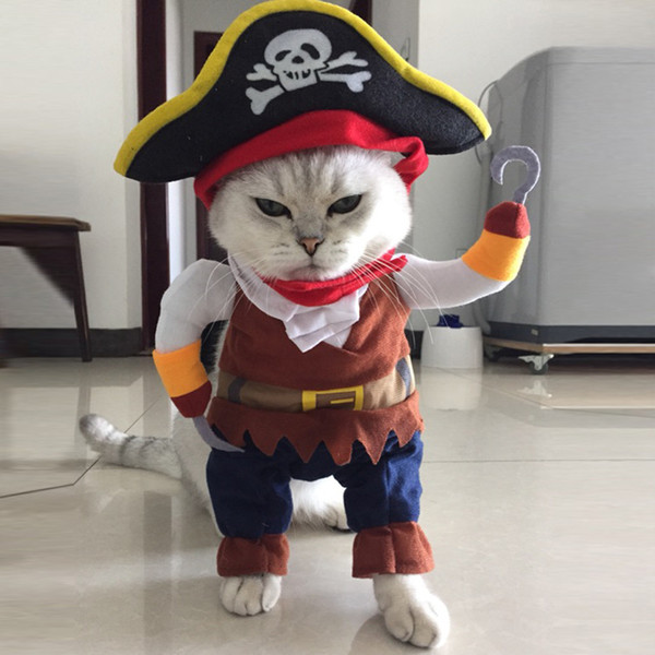 2018 New arrival Funny Pirate style Costumes Uniform Suit Pet Clothes Dogs cats hat Pet Supplies for Small Dog/Cat Christmas Pet costumes