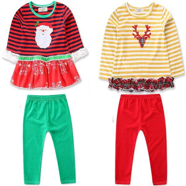 Christmas Baby girls outfits INS children Elk Santa Claus stripe dress top+pants 2pcs/set 2018 Autumn Boutique kids deer Clothing Sets C4846