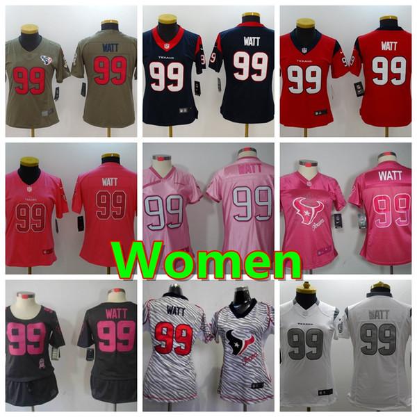 brand new ae82b 642fb 2019 2019 New Women 99 J.J. Watt Houston Jersey Texans Football Jersey 100%  Stitched Embroidery Texans J.J. Watt Color Rush Women Football Shirt From  ...