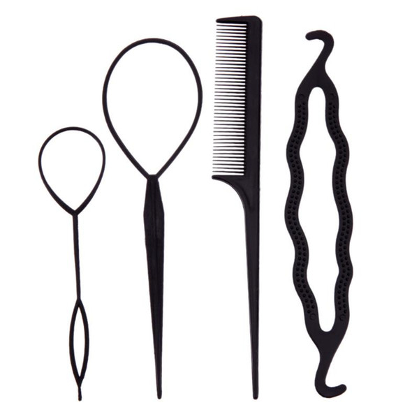 4Pcs/Set Hair Stick Styling Tools Pull Hair Pins Double Hook Plate Made Needle Comb Donut Big Hairdressing Accessories