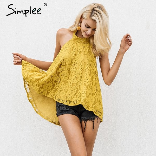 Simplee Halter backless lace top female Causal cami strapless floral camisole tank top 2017 autumn elegant blouse top women S915