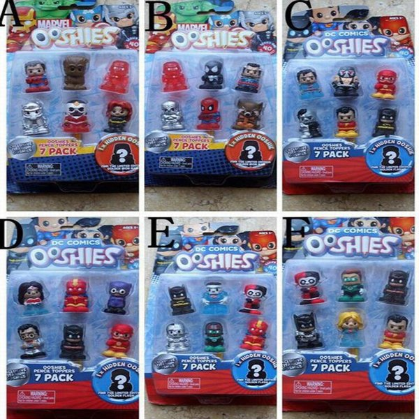 Ooshies DC Comics/Marvel Ooshie Pencil Toppers Action Figure Kids Toy Doll Gift Xmas Gift Party Decoration-7Pcs/Pack With One Blind Figure