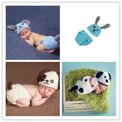 Newborn Photography Props Puppy Dog Knitted Infant Animal Costume Boys Outfits Crochet Baby Hat Diaper Set