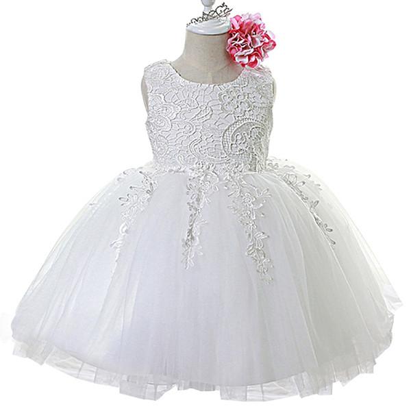 Vestito estivo da bambina per la festa nuziale Abiti da ragazza bianchi carini Vestiti per bambini piccoli Dolce compleanno 1 anno vestito