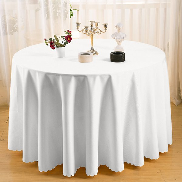 top popular Wedding Tablecloths 63 Inch Round Polyester Table Cloths for Christmas Event Banquet Party Dining Machine Washable Lace Table Cover 15 Sizes 2020