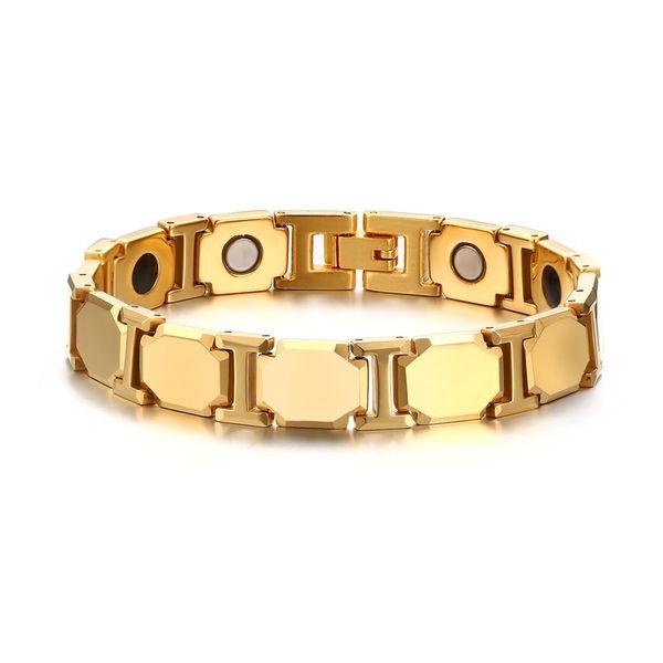 Gold Stainless Steel Triple Design Magnetic Therapy Link Adjustable Bracelet for Men with Element Magnets Germanium,Adjustable