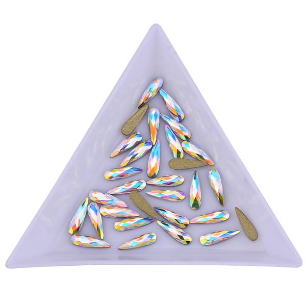 Acheter En Forme De Cristal Ab Raindrop Rose Or Ongles Strass Verre Plat Arrière 3d Nail Art Décoration Marquise Diamant Charmes Pour Les Ongles De