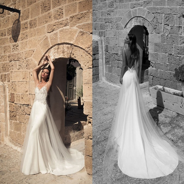 julie vino 2018 spaghetti wedding dresses backless mermaid bridal gowns with tulle overskirts satin applique wedding dress