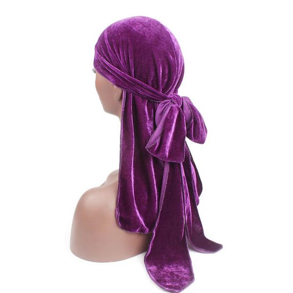 Unisex Hombres Mujeres Terciopelo Chemo Cap Transpirable Sombrero Bandana Turbante Gorras Doo Durag Headwear Musulmán Headwrap Sombrero Bandana