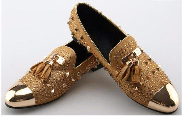 Zapatos formales para hombres Cuero genuino con flecos Dedo del metal Remaches de oro Fiesta de bodas de cristal Males Gamuza Mocasines Zapatos para hombre