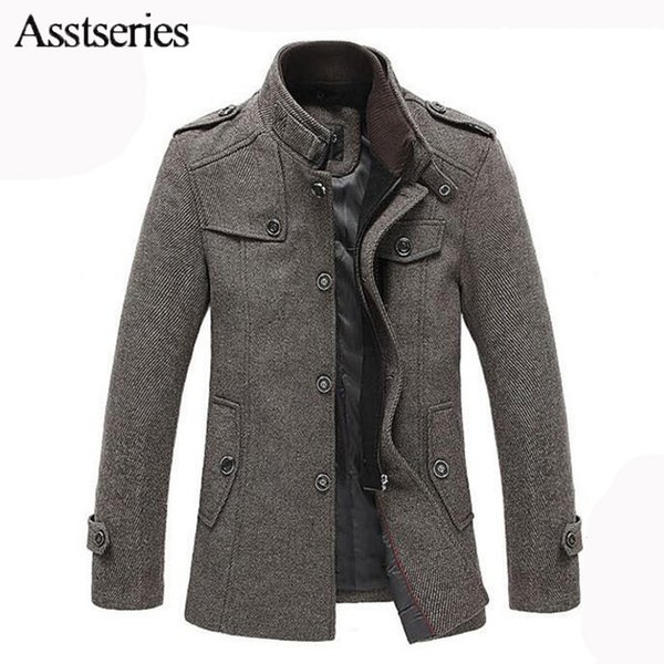 Brand Clothing 2018 Autumn Winter Jackets For Men And Parks Stand-up Collar Men's Woolen Jacket Middle Long Wool Coat 145wy