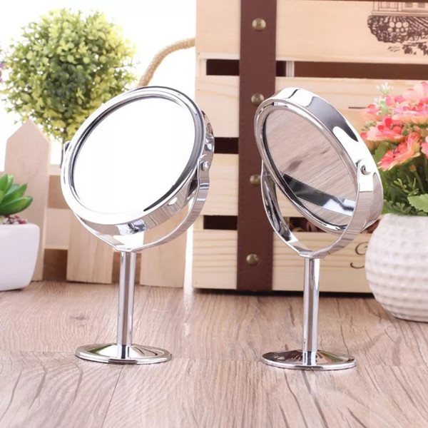 Small Round Stainless Steel Desktop Cosmetic Mirror Portable Travel Metal Double-side 2x Magnifying Table Stand Makeup Mirror