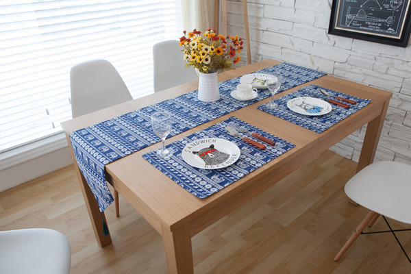 Handmade Blue Elephant Cotton Linen Table Runner New Home Kitchen Decor Dinner Table Top Cover Wedding Evening Party Tablecloth Runner For Table