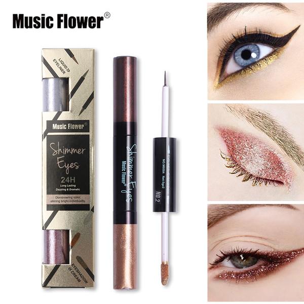 Music Flower Brand Glitter Metallic Liquid Eyeshadow + Eye Liner Kits de maquillaje Silver Gold Shimmer Eye Shadow Pigment Set de cosméticos