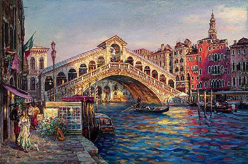 Cityscape of Venice with bridge over the canal Handpainted & HD Print Abstract Art Oil Painting On Canvas,Home Decor Wall Art l208