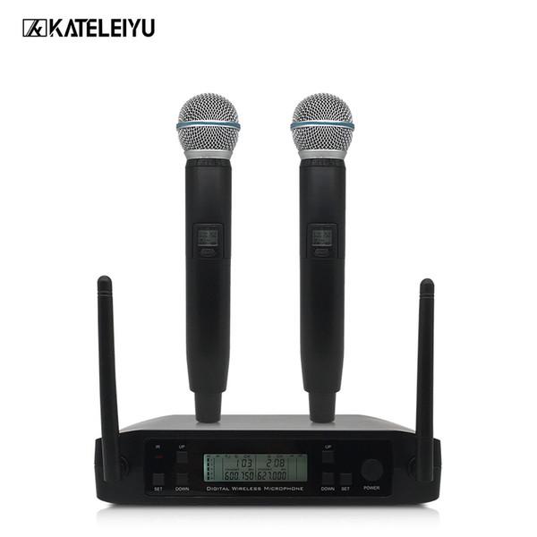 Sistema de micrófono inalámbrico de mano dual profesional UHF Micrófono inalámbrico de frecuencia ajustable Equilibrado + Salida no balanceada