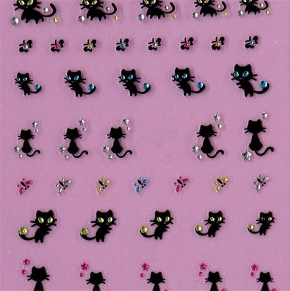 2016 Moda Mulher Nail Art Stickers Decalques Nail Decoração Diamante Gato Borboleta Design venda quente ANNE frete grátis