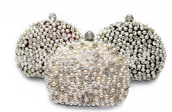 Amazing Full Pearls Crystal Beaded Bridal Wedding Hand Bags Ring Bag Ladies Evening Party Celebrity Small Clutch Dinner Bags