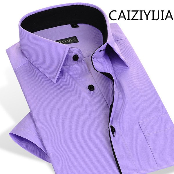 CAIZIYIJIA Mens Summer Brand-Clohting Silm fit Camicie maniche corte di alta qualità Importato-Cina Solid Camisa Masculina