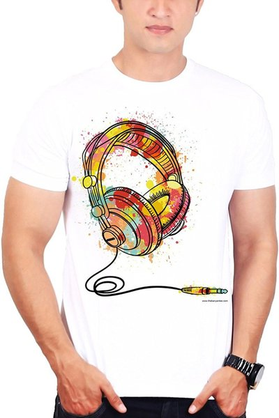 Custom T Shirts Cheap O-Neck Short Men's Printed Music T-shirts Abstract Headphone T-shirt 100% Cotton Tee For Men
