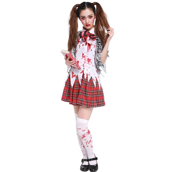 Free Shipping Halloween Women Scary School girl Cosplay Costume Blood stain Zombies Student Uniform Exotic Carnival Devil dress
