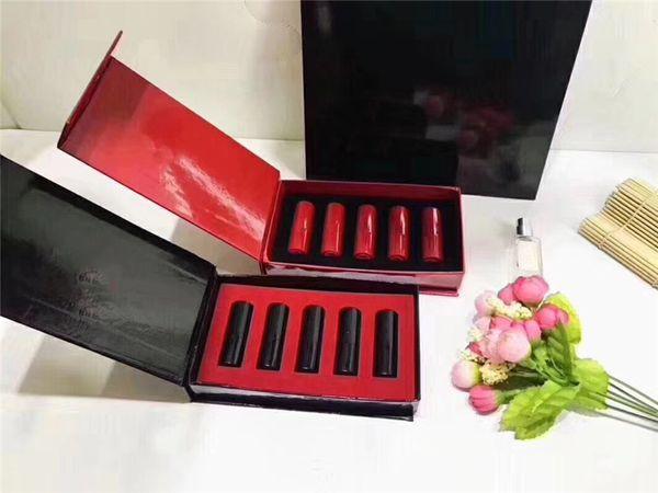 Famous brand Matte lipstick mini 5 piece/color lipstick set small size black case set & read case set