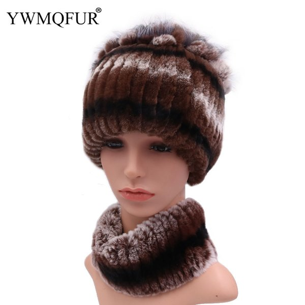 100% Real Rex Rabbit Fur Women Hat Neck Scarf Sets Winter Thick Female Caps Scarves With Vintage Warm Fox Fur 2018 New Arrival