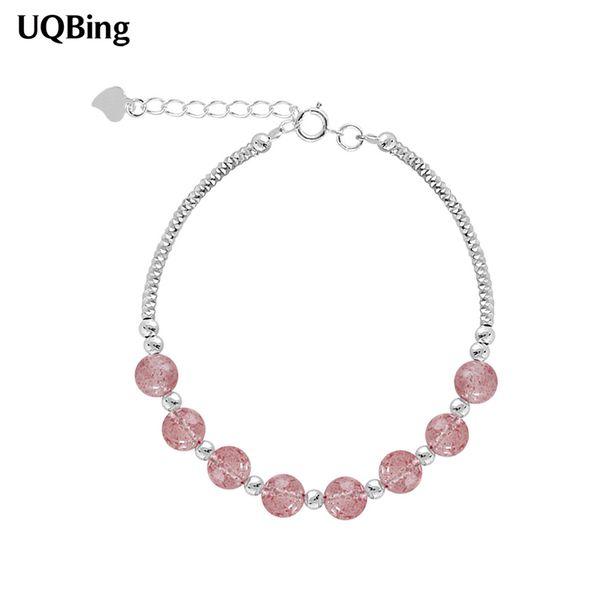 2019 New Fashion 925 Sterling Silver Pink Crystal  Bracelet For Women Charms BraceletsPulsera Drop Shipping