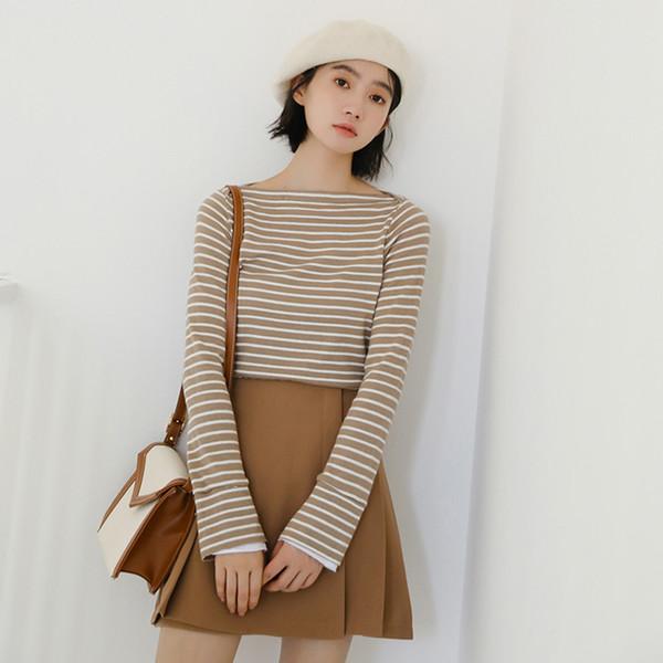 2018 neue koreanische Streifen Langarm gestrickte T Shirt Frauen Herbst Casual Allgleiches dünne T-Shirts Frau grundlegende Tees