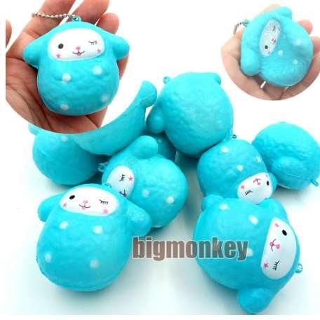 40pcs 6cm new Animal slow rising Kawaii blue sheep with squishy charm squeeze toy Cell Phone Charm/Bag Charm/Phone Straps