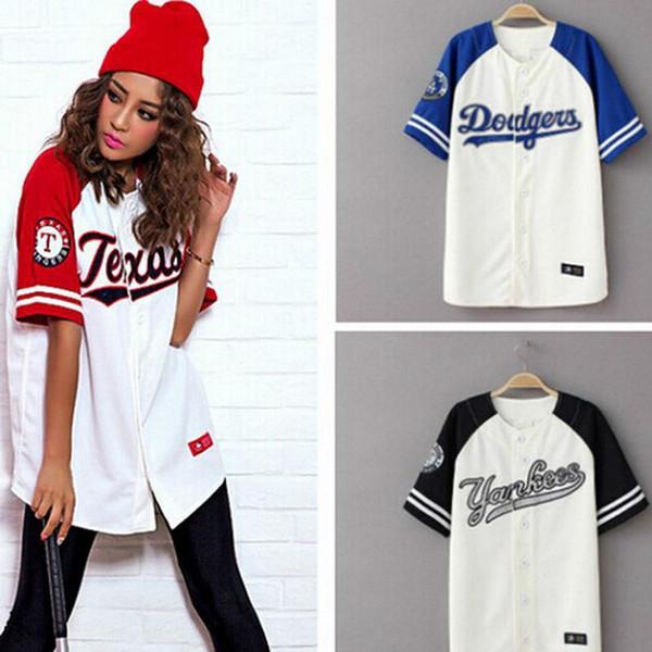 clothing0005 / Mulheres de verão Hip Hop Tshirt Harajuk Mulheres Camiseta Beisebol Coreano Estilo T Shirt Plus Size Roupas Femininas Casal Camiseta Top