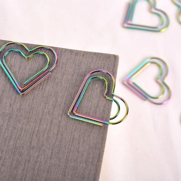 Новинка скрепки обучения канцелярские ослепить цвет клипы металлический материал симпатичные форма сердца закладки новое прибытие 12 88lq ii