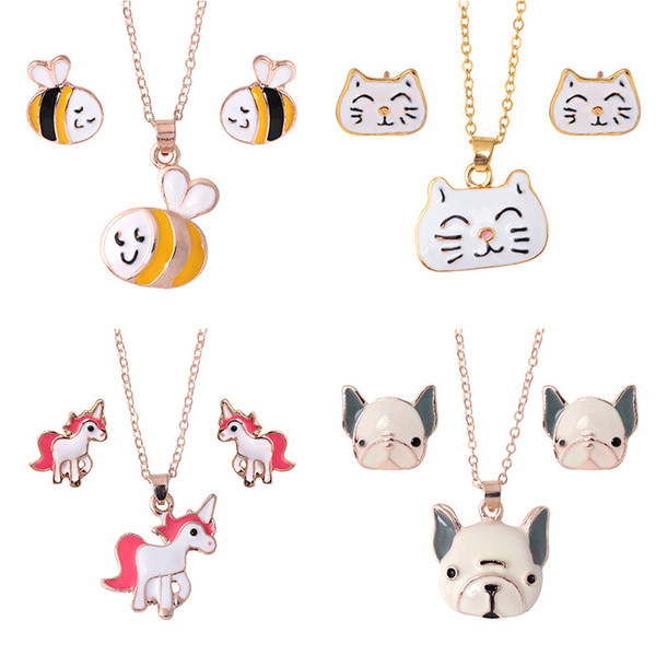 best selling Animal Jewelry Set Chain Kids Jewelry Cartoon Horse Dog Bee Necklace Earrings jewelry Sets For Girls Gifts wholesale