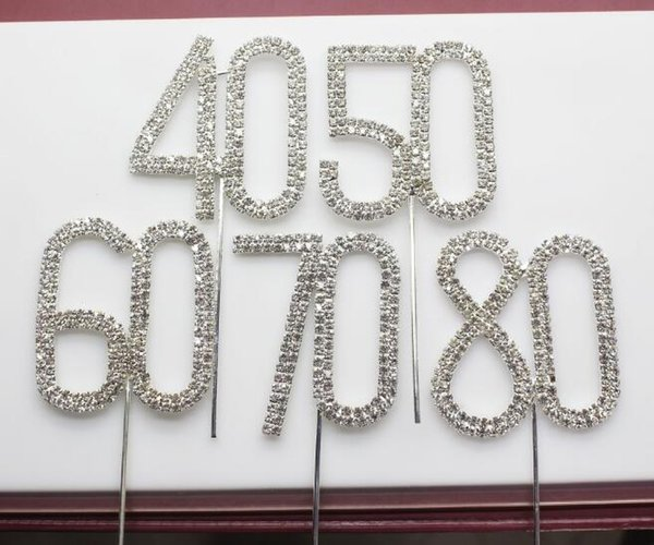 50pcs 45mm Silver Diamante Rhinestone Cake Topper Birthdays Wedding Numbers Crystal Stick Cake Accessories Party SL3723