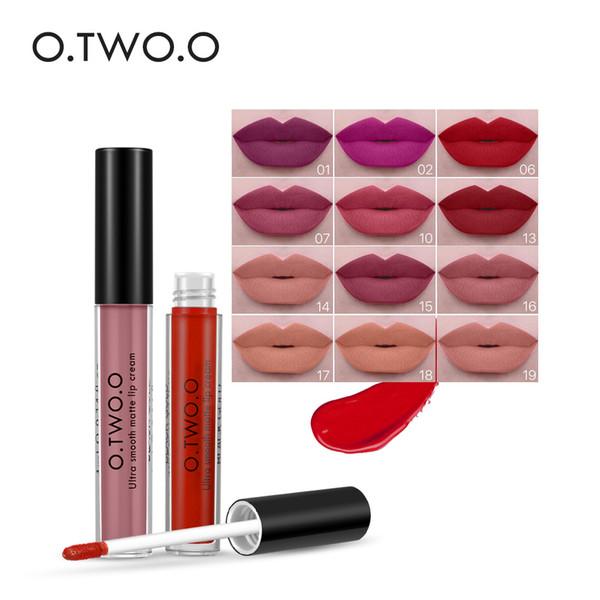 O.TWO.O 12Colors Matte Liquid Lipgloss Long Lasting Waterproof Soft Texture Lip Gloss Matte Liquid Lipstick Make Up