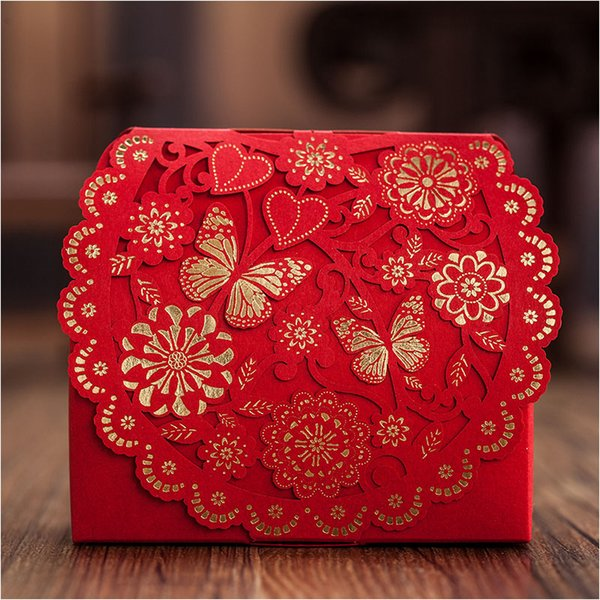 Luxury Gold Red Butterfly Sweetheart Wedding Boxes 60pcs Laser Cut Candy Gift Boxes as Wedding Favor Holders