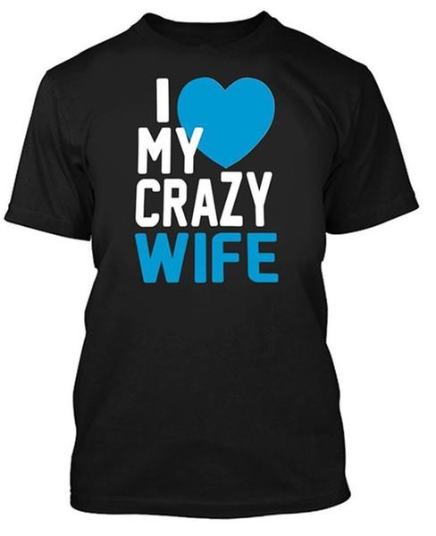 Создать футболку онлайн мужская короткая я люблю свою сумасшедшую жену экипаж шеи моды 2018 тройники