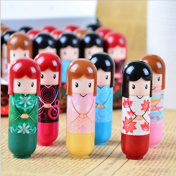 top popular Cartoon japanese Doll Moisturizing Kimono doll Lip Balm Cute Lovely Pattern Gift For Girl Lady Colorful Girl Lip Balm Kawaii Present 2021