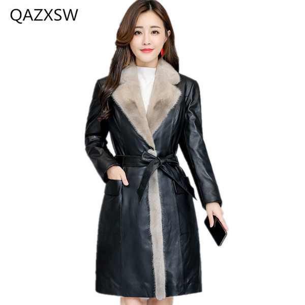 2018 new women's winter leather leather coat sheep skin down jacket long section slim thick warm fur outer TQ236