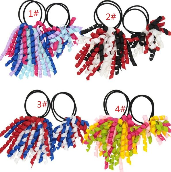 2pcs sets Girl Ponytail holders korkers Curly ribbons streamers corker hair bobbles bows flower elastic school boosters