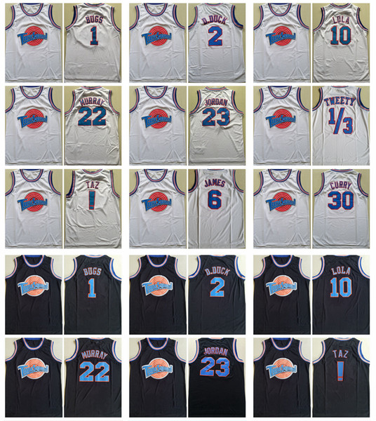Mens Tune Squad Space Jam Moive Jerseys 22 Murray 1 Bugs ! TAZ 10 Lola 2 D.DUCK 23 Michael 1/3 Tweety 6 James 30 Curry Basketball Shirts