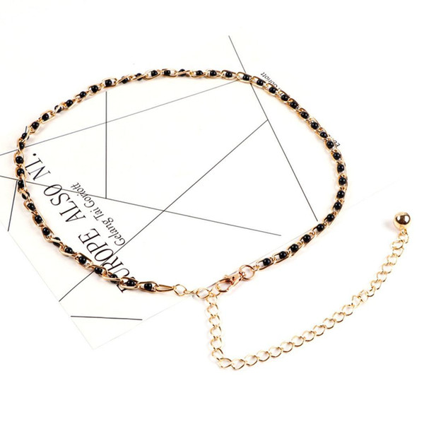 Club Waist Pearl Metal Belt Black Casual Party Fashion Faux etc Clasp Claw Women Chain Link Lobster Street Adjustable White