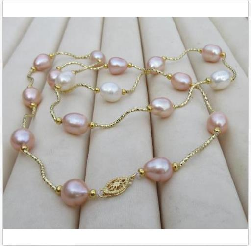 """HOT AAA++ 10-12MM REAL NATURAL SOUTH SEA WHITE+ PINK PEARL NECKLACE 25"""" 14K GOLD"""