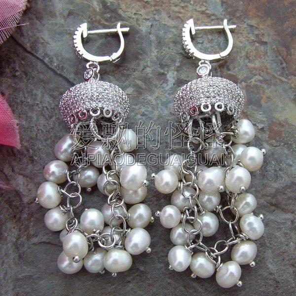 E100614 4-5MM White Round Pearl Earrings CZ Fitting