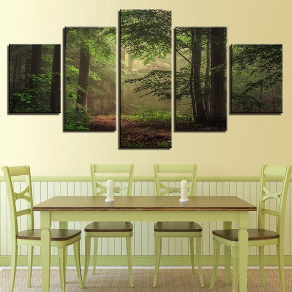 Modern Home Decor Living Room 5 Pieces Green Forest Scenery Posters Modular HD Printed Paintings Canvas Pictures Wall Art Frames