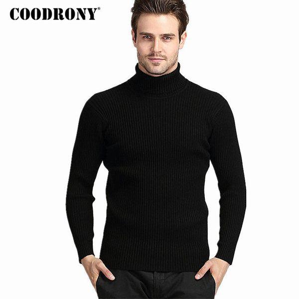 Großhandel COODRONY Winter Dicke Warme Kaschmirpullover Männer Rollkragen Herren Pullover Slim Fit Pullover Männer Klassische Wolle Strickwaren Pull