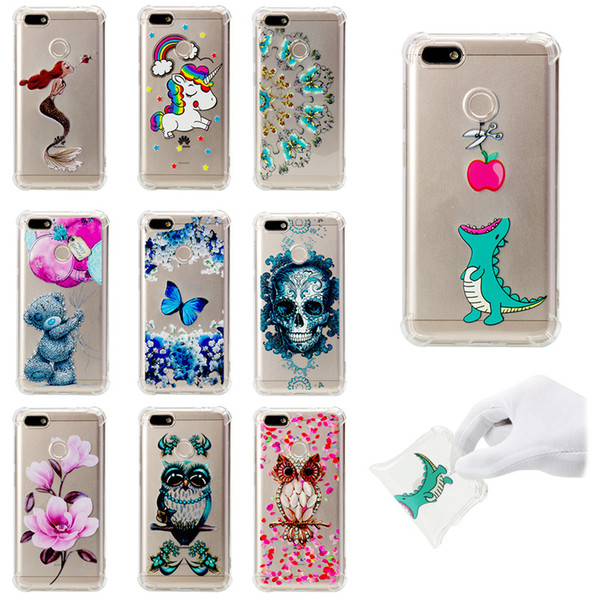 Soft TPU Cover For Huawei Enjoy 7 Case Coque transparent Coloured drawing Shockproof Phone Cases Blue butterfly Cloud Skull