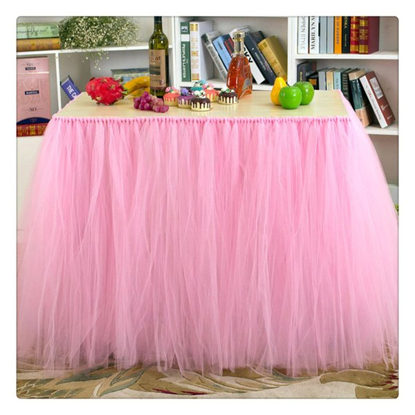 Tulle Table Skirts Cover Table Cloth for Girl Princess Party Baby Shower Wedding Birthday Parties Slumber Party and Home Supplies