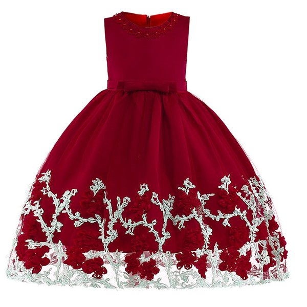 New baby girl petal pearl princess kids party dress girl dress flower children clothing 3 4 5 6 7 8 9 10 year baby girl clothes