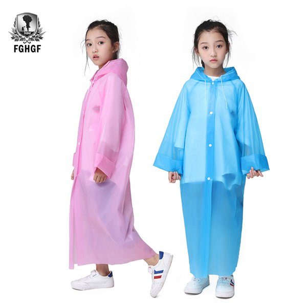 best selling FGHGF Not Once EVA Transparent Fashion Frosted Child Raincoat Girl And Boy Rainwear Outdoor Hiking Travel Rain Coat For Children